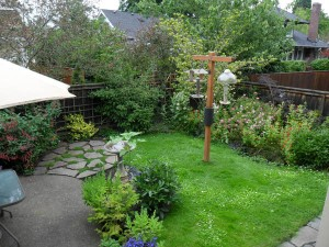 This tiny backyard space has it all: Rain Garden, Native Plants, space for entertaining and feeding the birds. Installation by J. Walter Landscape & Irrigation Contractor.