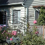 This corner property offered lots of real estate, but very little living space and no privacy.  The new fence was low, so dense plantings were needed both inside and outside to provide separation from the busy street.  Blissfully wide parking strips were renovated with a combination of plants for year round interest and included the best of the Roses that historically marked the route to a favorite neighborhood park.  Fence designed and built by Homeowner, plantings soil work and irrigation by J. Walter Landscape & Irrigation Contractor